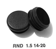 """(4) Round 1-1/2"""" 1.5"""" 14-20 Gage Black Tubing End Plugs Plastic Insert Caps"""