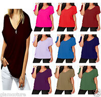 Ladies Baggy Fit V Neck Turn Up Sleeve Top Loose Batwing Oversized T Shirt Top