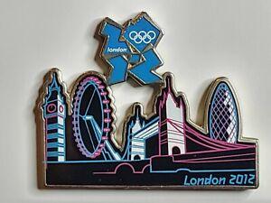 London 2012 Olympics London Skyline at Night Teal Logo Lapel Pin