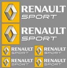 6 Stickers autocollants logo Renault sport blanc