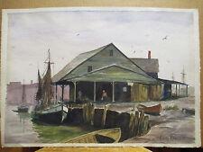 Gloucester Wharf Painting  Long Island Artist Erich Kreuzer