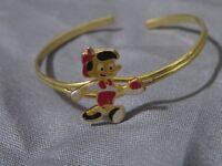 Very Rare!! Vintage Disney Pinocchio Gold Tone Baby Bracelet Adjustable Cuff
