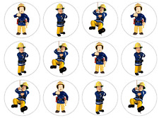 12 Fireman Sam Edible Wafer Paper Cupcake Toppers