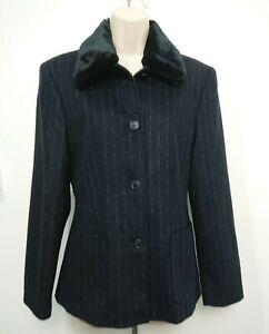 Steilmann Wool Blend Black Pinstripe Detatchable Fur Collar Jacket Coat Size 10