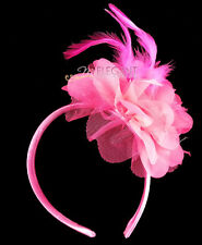 Children Hot Pink Rosette Feather Wedding Pageant Flower Girl Headband Hair Band