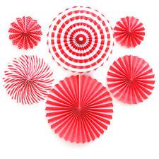 Ventilador de papel 6x Flores De Papel Tisú Boda Bebé Cumpleaños Fiesta Decoración De Mesa Rojo