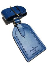 Louis Vuitton Name Tag Royal Blue Calfskin w/ Strap Loop - Authentic ONE SET-