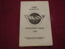 1960 CHEVROLET CORVETTE DEALER MODEL OPTION PRICE LIST
