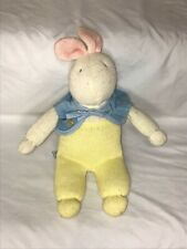Eden White Bunny Rabbit Plush Stuffed Toy Sweater Knit Yellow Jumper 11""