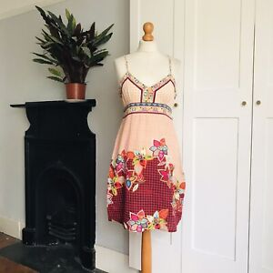 Sura Kana Pink Red Blue Green Yellow Floral Tribal Print Cotton Summer Dress 12