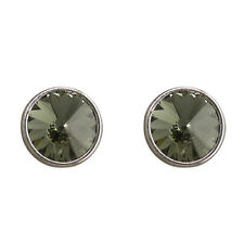 Sterling Silver Earring Large black Swarowski crystal stud