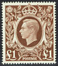 🌟 GB KGVI SG478c - £1 BROWN - 1939 HIGH VALUE - MNH UNMOUNTED MINT - Sc #275