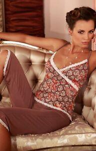 Damen Schlafanzug Top Wickeloptik Träger verstellbar Caprihose uni Viskose