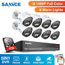 SANNCE HD 1080P 4CH 8CH DVR Full Color Night Vision 2MP Security Camera System