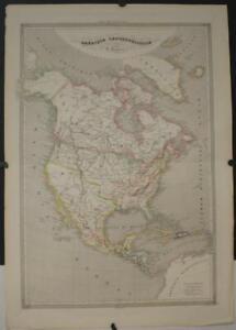 NORTH AMERICA 1833 DUVOTENAY UNUSUAL ANTIQUE ORIGINAL CLORED LITHOGRAPHIC MAP