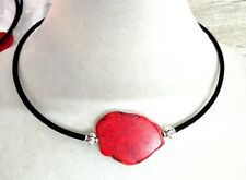 Woman Necklace baroque Red Turquoise Slice Stone Choker Velvet rope