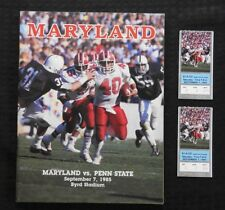 SEPT 7 1985 PENN STATE LIONS vs MARYLAND TERRAPINS FOOTBALL PROGRAM + TICKETS