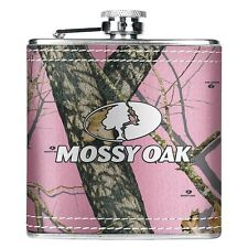 MOSSY OAK PINK CAMO FABRIC WRAPPED STAINLESS STEEl HIP FLASK  - HUNTING GIFT