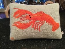 """Red Lobster Laura Megroz Wool Hooked Rug Pillow 14"""" x 19"""" Chandler 4 Corners"""