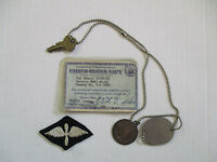 WWII US Navy Honorable Discharge ID Card Dog Tag St Christopher Medal Tags Lot