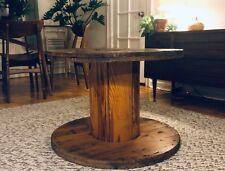 WOODEN CABLE SPOOL nice vintage rustic industrial heirloom indoor/outdoor table