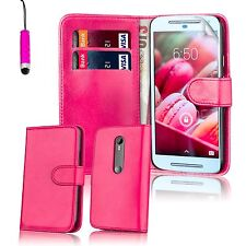 Book Wallet PU Leather Case Cover For Motorola Phones  Screen Protector & Stylus