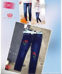 GRILS KIDS SKINNY JEANS WITH PATCHES 87#  SIZE 20