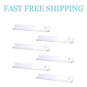 Sooyee 6 Pack 15 Inch Acrylic Invisible Floating Bookshelf Ledge Display Shelves