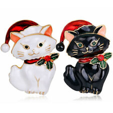 Christmas Cat Brooch Pin Animal Corsage Clothing Scarf Dress Suit Shawl Brooch