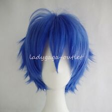 Women Men Hair Wig Cosplay Short Fluffy Straight  Full Wigs Cool Anime DressBlue
