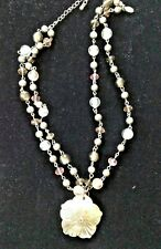 Cookie Lee Gray Pearl & Glass Bead Necklace / Shell Pendant