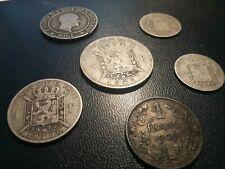 BELGIQUE - Ensemble de 6 monnaies belges en argent ( sauf la 20ct 1861 )