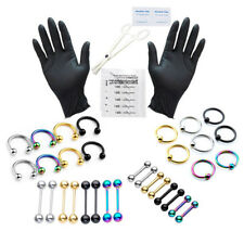 42pcs US PRO16G Belly Button Barbell Navel Ring Scissor Needle Body Piercing Kit