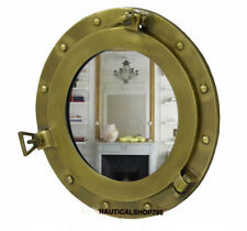 "Antique Brass 17"" Porthole Nautical Maritime Ship Boat Wall Mirror Home Decor"