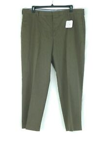 NWT Kirkland Mens Brown Heavy Dress Comfort Pants 42Wx30L Flat Front Cotton/Poly