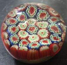 Vintage Murano Millefiori Red, White, Blue & Green Floral Glass Paperweight Exc