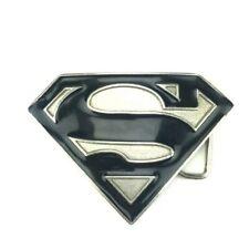 DC COMICS SUPERMAN METAL BELT BUCKLE BLACK/SILVER