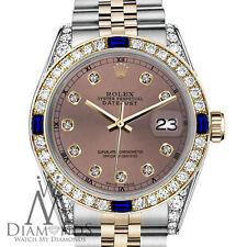 Rolex 31mm Datejust 2 Tone Salmon Color Dial Accent RT Sapphire & Diamond