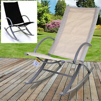 ROCKER RELAXER ROCKING SUN LOUNGER OUTDOOR GARDEN PATIO BLACK CREAM CHAIR SEAT