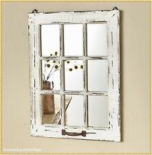 WHITE Distressed Wood Windowpane Mirror Rustic Country Farmhouse Home Wall Decor