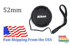 52mm LC-52 Center Snap on Lens cap for NIKON + Leash Directly attached to cap