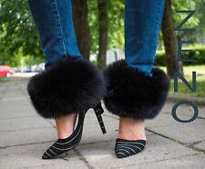 Fox Fur Transforming Boot Cuffs Wristbands Scarf and Headband Jet Black