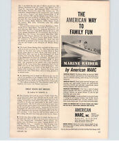 1961 PAPER AD American Marc Marine Raider Ski Fishing Family Motorboat Boat