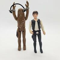Vintage 1977 Han Solo Chewbacca Star Wars Figure Kenner First 12 w/ Bonus Cuffs!
