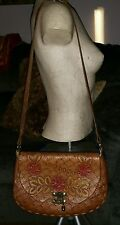 VINTAGE TOOLED LEATHER WESTERN SHOULDER BAG LORRAINE HIPPIE 70'S FESTIVAL BAG