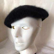Vtg Womens Aris Angora Wool Black Beret French Artist Beanie Soft Fluffy Hat