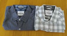 Express Fitted Checkered & Deep Blue Metal Button SS Shirt Men Size XL lot of 2