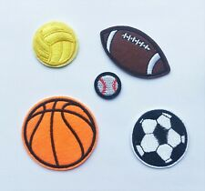 Football BasketBall Rugby Cricket Sports balls Iron on Motif Patch Child Adult