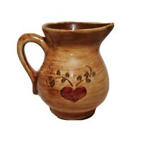 """Pennsbury Pottery Company Amish Woman Creamer 4"""" Brown Red Heart Country Vines"""
