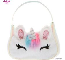 CLAIRE'S WHITE FUR UNICORN BLINKING EYES CROSSBODY MESSENGER BAG PURSE